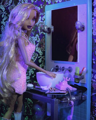 You Won't Forget About Me (alexbabs1) Tags: my scene dolls doll barbie juicy bling kennedy glam cute bathroom girly fun aura vibey vibes vibe sexy ooh la interesting hmm blonde makeup hair curls waves oriental asian wallpaper floral flowers flower mirror sink jewelry telephone princess phone sarah palins bangs dannii club disco