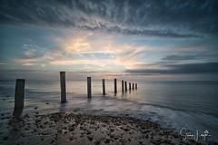 2017 - 12-28 - Landscape - Moana - Sunset 05.jpg (stevenlazar) Tags: pylons beach ocean sunset australia colour water moana waves jettyruins adelaide 2017 southaustralia clouds