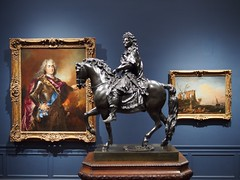 Augustus the Strong, Elector of Saxony and King of Poland (left); Louis XIV as a Roman General (center); Seaport with Antique Ruins: Morning (right) (procrast8) Tags: kansas city mo missouri nelson atkins museum art oil painting augustus strong elector saxony king poland louis xiv roman general seaport antique ruin morning equestrian statue sculpture nicolas largilliere francois girardon claude joseph vernet
