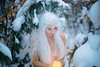 Winter glows (Lichon photography) Tags: blue portrait candel beauty woman female lichonphotography forest winter snow snowghosttrees longwhitehair surreal conceptual fineartphotography