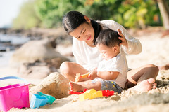 Asian mother and baby play sand and toy togather (I love landscape) Tags: beach sand family mother baby vacation happy kid playing summer toy parent play holiday mom toddler children sea woman little daughter young water lifestyle thai asian asia boy child nature people outdoor leisure tropical outside bucket shovel toys sun childhood travel person small care insurance trip togather thailand resort phuket
