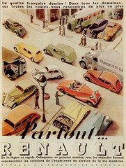 Renault range (1935) (andreboeni) Tags: classic car automobile cars automobiles voitures autos automobili classique voiture rétro retro auto oldtimer klassik classica classico publicity advert advertising advertisement illustration poster renault 1935 celtaquatre primaquatre vivastella bus autobus