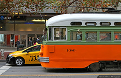 Motion on Market Street (jamesbelmont) Tags: sanfrancisco california pcc streetcar trolley marketstreet losangelestransit muni prius taxi