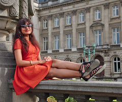 (Debarshi Ray) Tags: belgium brussels summer city building statue windows canon canoneos70d tamron tamronaf18270mmf3563 girl lady woman female wife girlfriend dress brunette sunglasses glasses hair portrait ears earrings shoes black legs arm hands feet beautiful pretty gorgeous placedespalais paleizenplaats smile lips palace