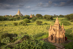 The thousands of temples of Bagan, Myanmar (Tim van Woensel) Tags: temples bagan pagan asia myanmar burma travel archaeological zone theravada buddhism buddha shwesandaw pagoda stupa stupas clouds grass