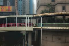 Red meets Green (Kai-Ming :-))) Tags: kaiming kmwhk red green fence pedestrianbridge hongkong tsuenwan