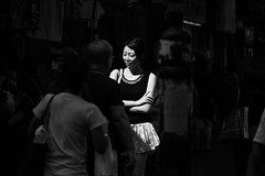 lady in light (Neville Fan) Tags: monochrome blackandwhite blackwhite bw street streetphotography light lady market contrast dark hongkong people pedestrian blackwhitephotos