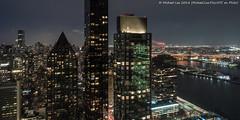East River Night View (20180209-DSC00822-Edit) (Michael.Lee.Pics.NYC) Tags: newyork aerial hotelwithview millenniumhiltononeunplaza unplaza night longexposure eastriver rooseveltisland lic longislandcity queens queensborobridge architecture cityscape sony a6500 voigtlanderheliar15mmf45