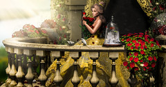 """contest entry"" Beauty and her roses (meriluu17) Tags: beauty belle beautybeast tale fairytale cartoon romance story once upon time beast princess girl rose roses flower floral glass balcony castle"