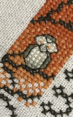 HMM -less than an inch (f l a m i n g o) Tags: macromonday crossstitch small cross pattern stitch owl orange brown fall halloween lessthananinch 27501