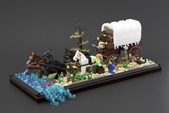 Oregon Trail River Crossing - Wide (brickwebster) Tags: lego afol moc historical river covered wagon prairie schooner oregon trail diorama horse harness snake