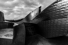 Guggen b/n (Rafa Barajas) Tags: museus guggenheim bilbao spain europe reflect titanium black white shape
