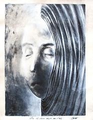 Que le dernier soupir me dissolve (Adrien Gomet) Tags: allegory art black charbonnel dream face gouache melancholy mélancolie monotype monotyping oniric onirique portrait study surreal surrealism symbol symbole symbolism symbolisme white