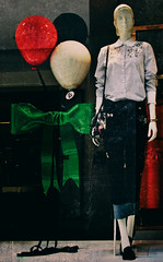 Party animal (Chris Hamilton Photography) Tags: d7200 reflection covent garden flickr fashion mannequin balloon colour bow ribbon display fashionable clothes nikon