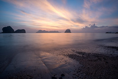 Sunrise in Koh Ngai, Thailand (Kristaaaaa) Tags: thailand travel kongai beach scene nature sun water ocean island islands limestone sunrise dawn clouds light warm longexposure sand waves fuji fujixt2 xt2 fujilove fujifilm traveller travelphotography nomad wanderlust photo asia photograph southeastasia adventure fujix fujixseries tripod long shutter landscape rocks rock sea seascape shore tropical bay beauty silhouette sky dramatic color colour colourful colorful