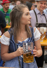 The beer stein is almost as big as she is (Alaskan Dude) Tags: travel germany europe bavaria munich munchen oktoberfest beer art people portraits costumes fun