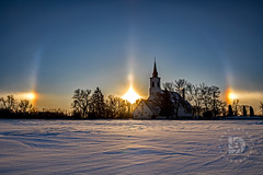 Sundogs frame this Country Church at Sunset #390 (DBruner240) Tags: sundogs sun dog dogs church country winter snow ngc national geographic trees sunset nd north dakota evanger luthern lutheran