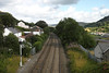 View up the Rhymney valley from bridge at Tirphil (Parishes of the Buzzard) Tags: rail railway valley track sleepers rhymneyvalley tirphil newtredegar southwales wales welsh scene landscape sigmadp2m foveon 2016 july summer transport houses abertysswg valleys