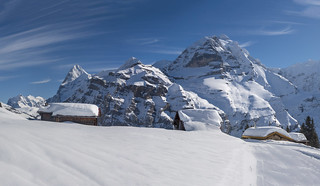The village of Gimmela at winter time. (Murren) . Canton of Bern . (Switzerland. ) Izakigur No.5920 21 22 23 .