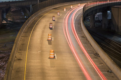 Left Lane Closed (Curtis Gregory Perry) Tags: interstate 5 84 onramp traffic construction closed night ramp nikon d810 long exposure pylon cone barrier orange lane trails light 105mm curve