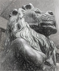 King of Beasts (beelzebub2011) Tags: canada britishcolumbia vancouver sculpture artwork bw monochrome lion
