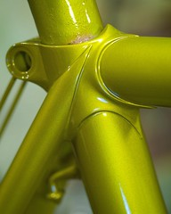 It's not a chartreuse like a Legnano or a Raleigh International but somewhere in between. Second bike out of the paint booth. One more to go and one to retrieve from a customer for NAHBS! #nahbs2018 #nahbs #chartreuse #bicyclepainting #chapmancycles (Chapman Cycles) Tags: nahbs2018 nahbs chartreuse bicyclepainting chapmancycles
