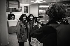 Twin set.... (Dafydd Penguin) Tags: st pancras eurostar paris london terminal station candid street shot people lady woman twins twinset train railway international american blackandwhite blackwhite black white monochrome mono noir leica m10 elmaritm 21mm f28