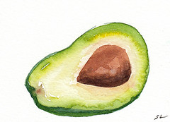 """Original watercolor ACEO #60 - """"Avocado 1"""" (Sonia Aguiar (Mallorca)) Tags: avocado kitchenart smallart small food watercolour watercolor aquarell aquarelle acuarela aceo"""