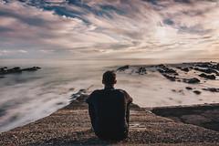 Riflessioni di febbraio (pt.3) (FButzi) Tags: genova genoa liguria italia italy vernazzola capo santa chiara molo mare sea clouds nuvole uomo man contemplazione contemplation long exposure