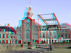 Delfshaven Rotterdam 3D (wim hoppenbrouwers) Tags: anaglyph stereo redcyan delfshaven rotterdam 3d pelgrimvaderskerk