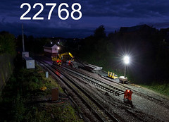 08/10/2017 (Sun) 0650  Poulton-Le-Fylde, Blackpool north line  Re laying track as part of a all day Sunday possesion (RF_1) Tags: 2017 britain contractor contractors dark darkness digger engineering england fylde infrastructure lancashire lancshire maintain maintaining maintenance networkrail night plant poultonlefylde prestonblackpool rail railroad rails railway railways renewal renewals repair repairers repairing repairs roadrailer track trackrenewal trackwork trackworkers tracks trackworks trains transport uk unitedkingdom work workmen worker workers working works