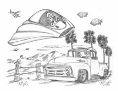 Deco Glider (rod1691) Tags: myart art sketchbook bw scifi grey concept custom car retro space hotrod drawing pencil h2 hb original story fantasy funny tale automotive illistration greyscale moonpies sketch sexy