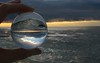 Morning at Lake Ontario in my Crystal Ball (Leslie Abram) Tags: lake ontario crystalball refraction inversion morning sunrise