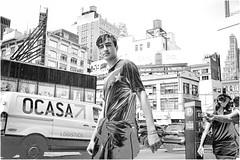 License to Explore (Steve Lundqvist) Tags: new york usa states united america manhattan stati uniti travel trip viaggio traveling model bw urban city urbanscape portrait ny nyc persone ritratto fashion moda mood attractive beauty crossing street road streetphotography boy high line subway park cityscape background solarization solarize photoshop effect editing treatment cars