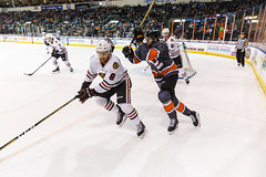 """Kansas City Mavericks vs. Indy Fuel, February 17, 2018, Silverstein Eye Centers Arena, Independence, Missouri.  Photo: © John Howe / Howe Creative Photography, all rights reserved 2018 • <a style=""""font-size:0.8em;"""" href=""""http://www.flickr.com/photos/134016632@N02/39676654164/"""" target=""""_blank"""">View on Flickr</a>"""