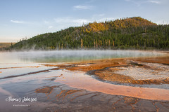 Yellowstone National Park (Thomas  Johnson Photography) Tags: wyoming unitedstates outside outdoors canon digital 40d canon40d scenic beautiful trees pine pinetrees woods bacteria bacterialmats thermal hot steam blue orange yellow sky eyecatching thomasjohnsonphotography ©thomasjohnsonphotography ©2018thomasjohnsonphotography 2018 amazing yellowstonenationalpark nationalpark nature natural volcanic water steaming