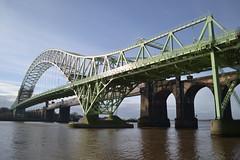Bridge Over The Mersey (Gerry Rudman) Tags: river mersey runcorn widnes silver jubilee bridge 1961 railway 1868 transporter