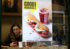 `2182 (roll the dice) Tags: london southwark se1 glass window reflection sad mad fun funny shock reaction streetphotography uk art classic urban england unaware unknown work people natural sexy pretty lunch tooleystreet busy advertising portrait candid stranger canon tourism tourists fashion bored happy drinks subway londonbridge shops morning starving mobile phone talk tex roll froth
