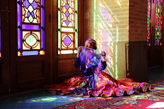 Pink Mosque (deus77) Tags: shiraz iran pink nasir almulk mosque color colors colour colours colored glass inside model portrait girl iranian persian woman