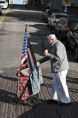 old glory (Dean Forbes) Tags: select seattle busker americanflag cart man sailorsuit pikeplacemarket