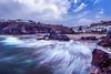 retracting wave (Juan Rostworowski) Tags: peru southamerica beach filter photostacking photoshop pov pointofview wave ocean coast landscape seascape coastal pacific cliffs cliff houses view movement rocks color longexposure exposure nikon nikond800e d800 d800e nikkor juan rostworowski juanrostworowski oceanside