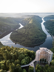 Viewing Platform (Fabian Fortmann) Tags: saarschleife germany deutschland river cloef saar pfalz sunrise drone landscape nature baumwipfelpfad water sonnenaufgang summer reflection