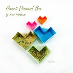 heart-diamond  box (polelena24) Tags: origami heart valentine box diamond square onesheet easy