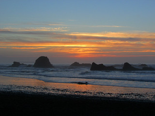 Sunset at Ruby Beach at Olympic NP in WA