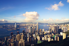 Hong Kong cityscape view from  victoria peak  at sunset in Hong Kong China (Krunja) Tags: morning mountain aerial architecture asia asian beautiful beauty building business china chinese city cityscape cloud district downtown dusk famous finance financial harbor harbour high hong hongkong island kong kowloon landmark landscape light metropolis modern office peak scene scenic sky skyline skyscraper sunrise sunset tall tower travel twilight urban victoria view