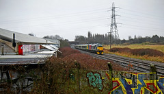 37601 in the gloom near Water Orton (robmcrorie) Tags: 37601 dog rail operations group class 37 5q94 northampton long marston 350236 water horton warwickshire graffiti m40 bridge nikon d7500