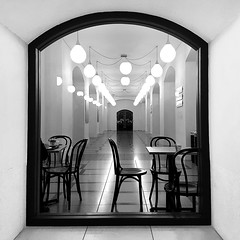 Phantom of a conversation (Arni J.M.) Tags: chairs phantomofaconversation tatebritain djanoglycafé café tables lights room ceiling wall corridor empty missing gone doors window london england uk