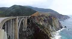 Bixby Bridge (AntyDiluvian) Tags: california coast bigsur highway highway1 hillside road cliffs vistapoint viewpoint bixbybridge sea waves surf