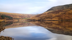 Foggy mornings (G-WWBB) Tags: yeoman yeomanhey reservoir reflections reflect waterfront water rocks mountain peaks peakdistrict waterside reflecting autumn sky clouds fog mist queenofreflections pareidoliaisasignofgenius qualitystreetgreentriangle wakeupgirl