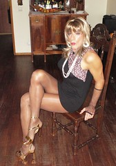 Karen (Karen Maris) Tags: tg tgirl tgurl karen legs heels tranny trannie transvestite transsexual transgender pantyhose sheer tights highheels blonde crossdress crossdresser